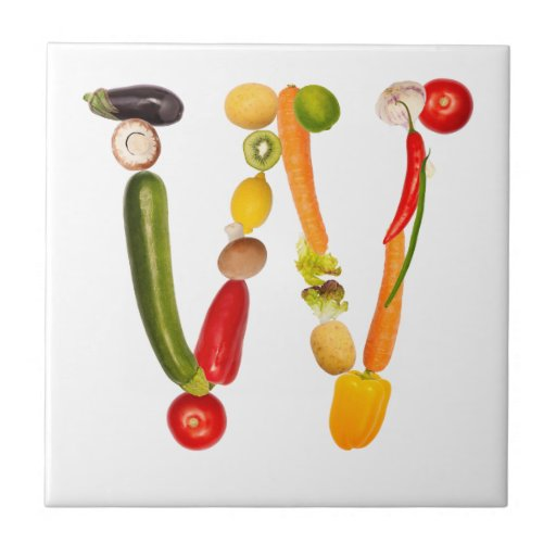 """type character """"W"""" OF fruits and vegetables Ceramic Tiles"""