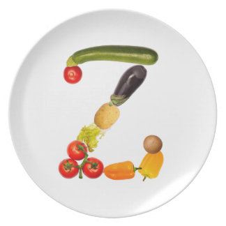 "type character ""Z"" OF fruits and vegetables Party Plates"