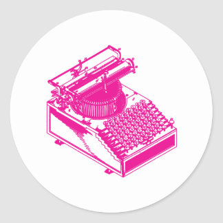 Type Writing Machine - Magenta Writer typewriter Classic Round Sticker