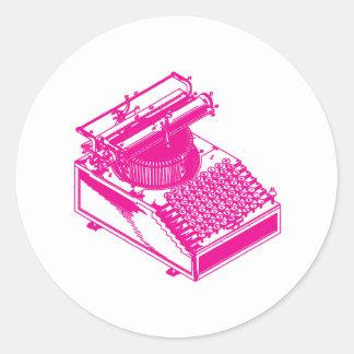 Type Writing Machine - Magenta Writer typewriter Round Sticker