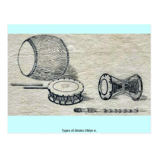 Types of drums Ukiyo-e. Postcard