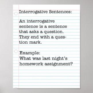 Types of Sentences:  Interrogative Sentences Poster
