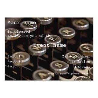 Typewriter 13 Cm X 18 Cm Invitation Card