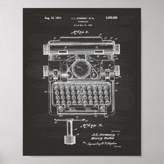 Typewriter 1941 Patent Art Chalkboard Poster