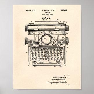 Typewriter 1941 Patent Art - Old Peper Poster