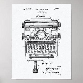 Typewriter 1941 Patent Art White Paper Poster