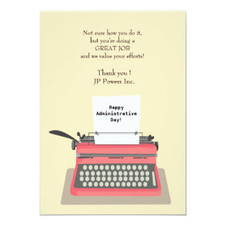 Typewriter Administrative Professional Day 13 Cm X 18 Cm Invitation Card