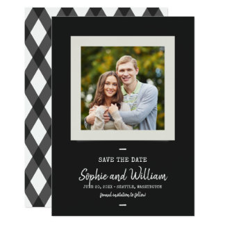 Typewriter and Script Photo Save the Date Card