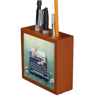 Typewriter & Birds Green Wooden Pencil Holder