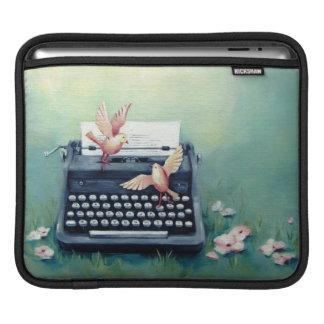 Typewriter & Birds Teal Green Ipad Sleeve