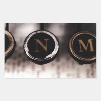 Typewriter closeup rectangular sticker