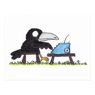 TYPEWRITER CROW postcard by Nicole Janes
