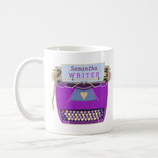 Typewriter Cute Retro Modern Purple Writer Name Coffee Mug