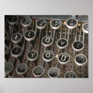 Typewriter Keys I Love You Print