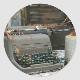 Typewriter Letter Round Sticker