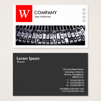 Typewriter - Logo and Panel v2 - Red Business Card