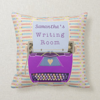 Typewriter Personalized Author Writing Room Purple Cushion
