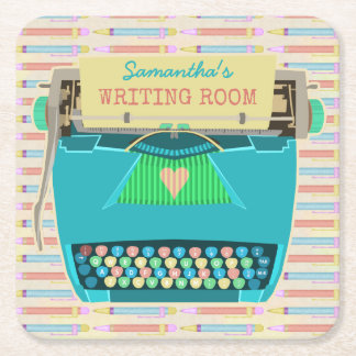 Typewriter Retro Writing Room Authors Custom Name Square Paper Coaster