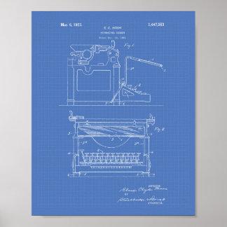 Typewriter Screen 1923 Patent Art Blueprint Poster