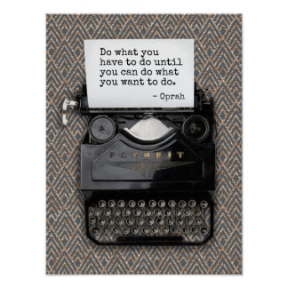 Typewriter with Blank Paper | Deco Pattern Poster
