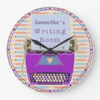 Typewriter Writing Room Personalised Author Large Clock