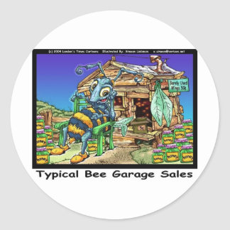 Typical Bee Garage Sales Funny Gifts & Tees Round Sticker