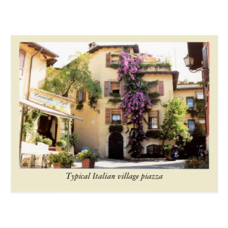 Typical Italian village piazza Postcard
