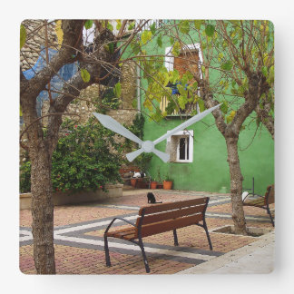Typical place in a Spanish town Square Wall Clock