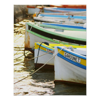 Typical Provencal fishing boats painted in Poster