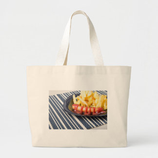 Typical Russian dish - fried potatoes and sausage Large Tote Bag