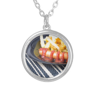 Typical Russian dish - fried potatoes and sausage Silver Plated Necklace
