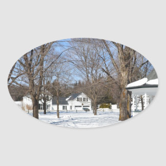 Typical Vermont Town In Winter Oval Sticker