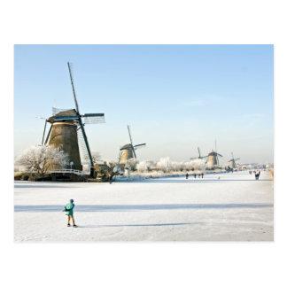 Typically dutch ice skating  at Kinderdijk Holland Postcard