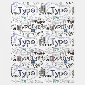 """""""Typo"""" Typography Graphic in Colored Text #3 Fleece Blanket"""