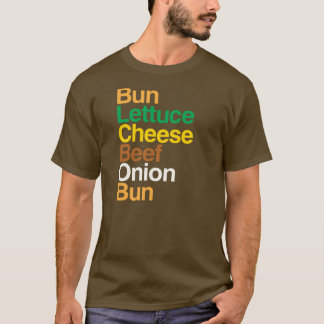 Typographic anatomy of cheeseburger T-Shirt