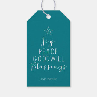 Typographic Christmas Tree Gift Tag
