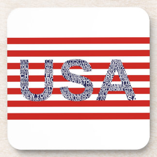 Typographic illustration with text USA Drink Coaster
