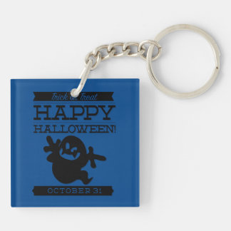 Typographic retro Halloween Double-Sided Square Acrylic Key Ring