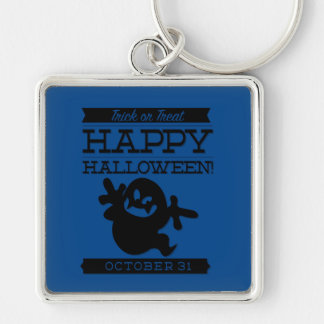 Typographic retro Halloween Silver-Colored Square Key Ring