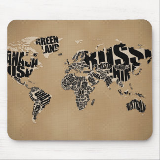 Typographic World  Map Mouse Pads