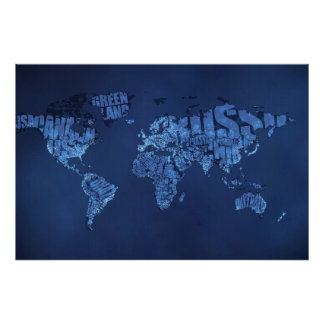 Typographic World Map (Night) Poster