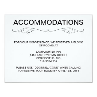 "TYPOGRAPHY ACCOMMODATIONS/DIRECTIONS CARD 4.25"" X 5.5"" INVITATION CARD"