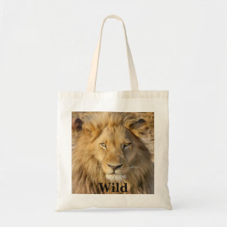 Typography And Beautiful Photo Of A Wild Lion Tote Bag