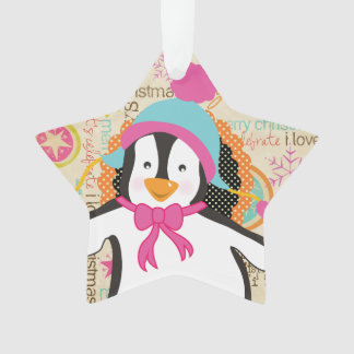 Typography and Penguins Holiday Acrylic Ornament