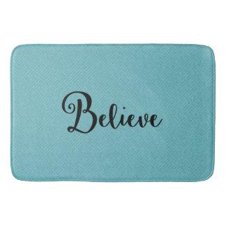 "Typography ""Believe"" Black on Blue | Bath Mat Bath Mats"