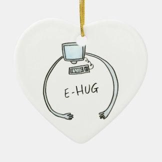 Typography e-hug computer hug ceramic heart decoration