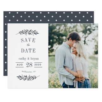 Typography floral frame photo save the date card