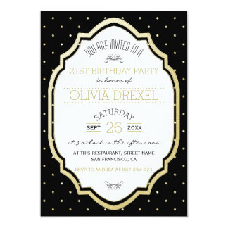 Typography & Gold Polka Dots On Black Birthday Card