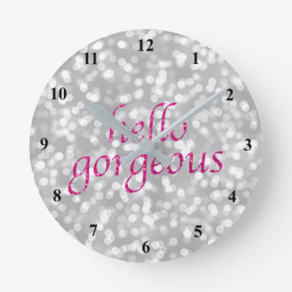 Typography Hello Gorgeous | Girly Hot Pink Silver Clock