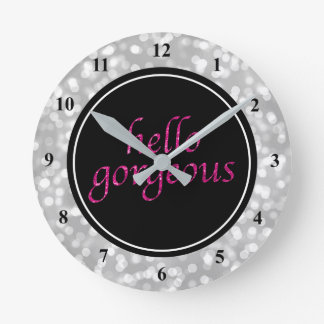 Typography Hello Gorgeous | Silver Bokeh Hot Pink Round Clock